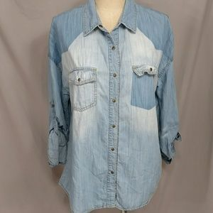 Anthropologie Lightweight Denim Distressed Shirt